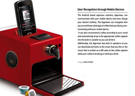 Appresso smartphone Android caffè