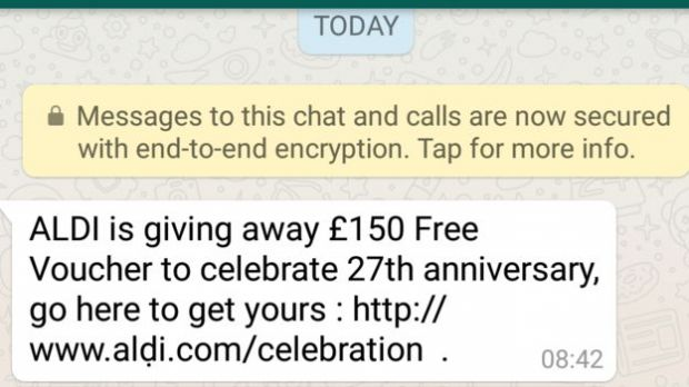whatsapp aldi scam
