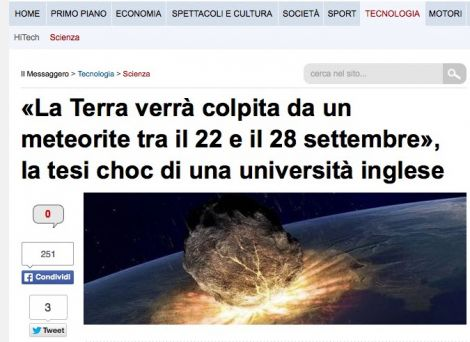 Antibufala: la meteora che distruggerà la Terra