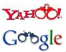 Yahoo e Google: loghi con manette