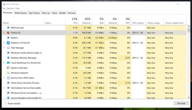 win10 consumo energia task manager