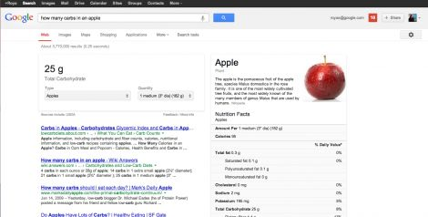 google valori nutrizionali