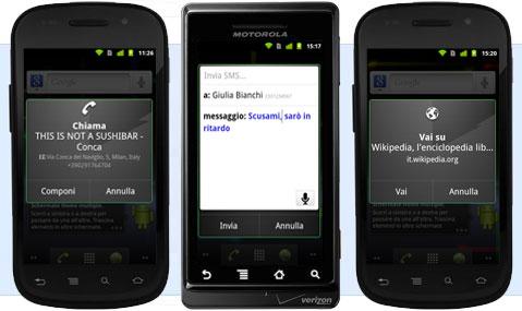 Google Android azioni vocali smartphone sms