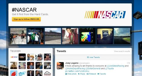 nascar hashtag pages