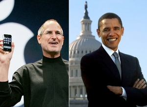 Steve Jobs cena Obama salute Enquirer