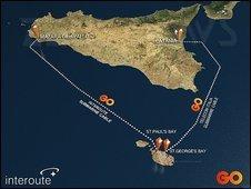 sicilia cavi sottomarini egitto internet