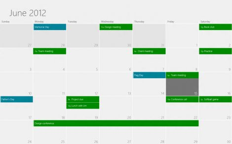 windows 8 calendar main