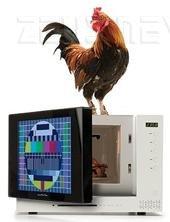 Il forno microonde con televisione incorporata del