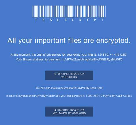 teslacrypt screenshot