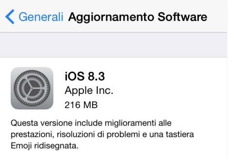 ios update italiano 8.3 2015 04 10