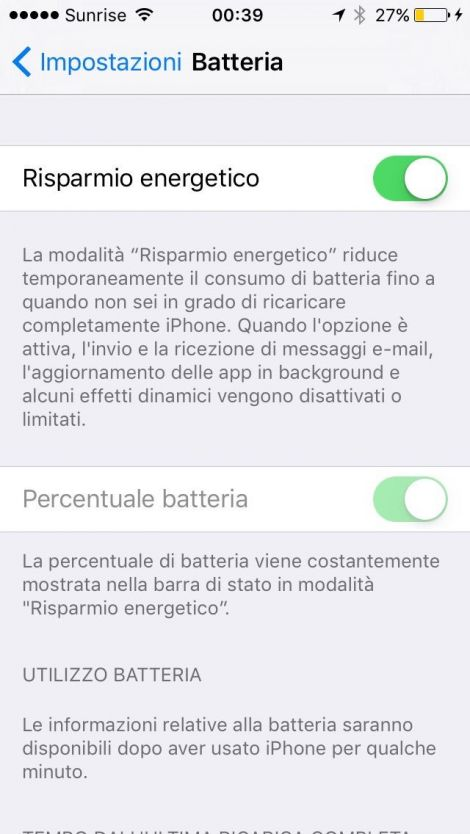 iphone risparmio energia