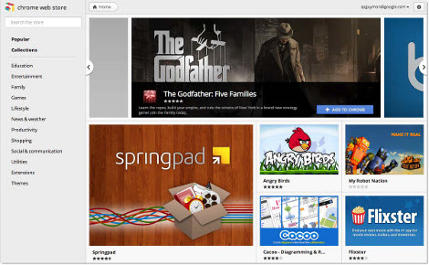 Chrome 15 new tab page web store
