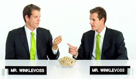 Winklevoss pubblicità pistacchi Facebook Zuckerber