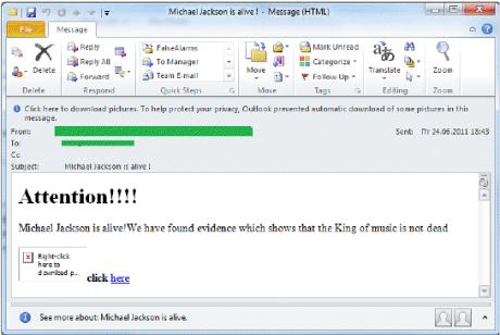michael jackson spam