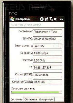 Htc T829 WiMax Russia 13,8 Mbit/s