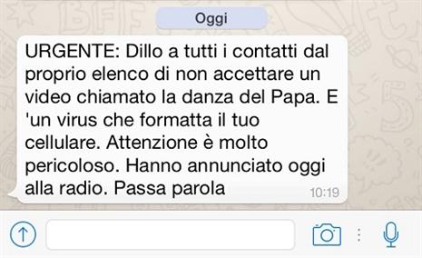 Attenti al virus della ''danza del Papa''
