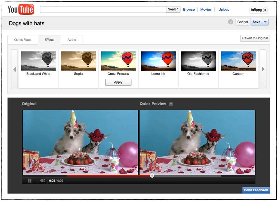 YouTube editor video online effetti