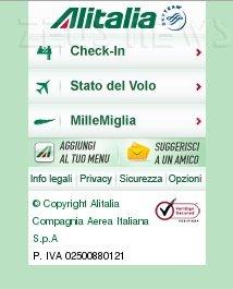 Alitalia Mobile Check In carta d'imbarco cellular