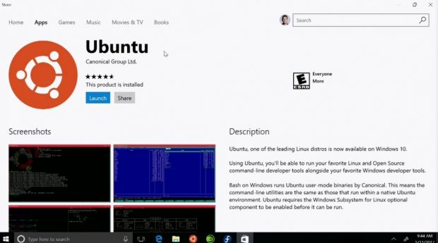 Ubuntu in Windows Store