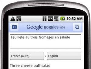 Google Goggles traduzione testo foto