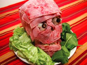 Halloween testa di prosciutto