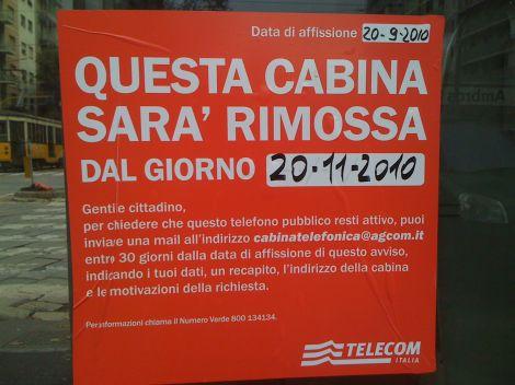 cabine telefoniche rimozione