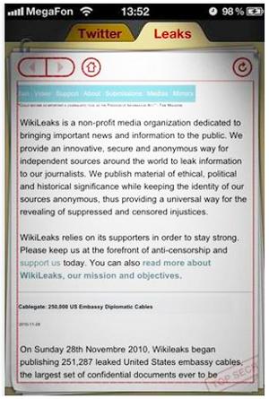 Apple rimuove Wikileaks app