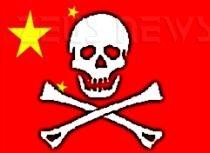 Immagine piratesca su sfondo bandiera cinese
