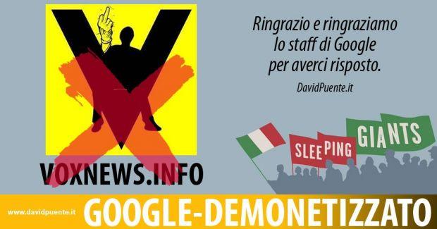 google voxnews demonetizzato
