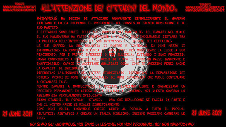 Anonymous attaccano Berlusconi