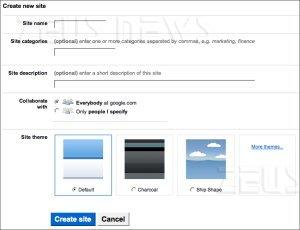 Google Sites permette di creare il proprio sito