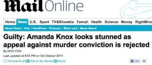 Daily Mail online errore amanda knox guilty